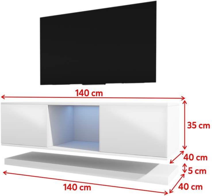 Wizz – Mesa Flotante para TV/Mueble TV Moderno (140 cm, Blanco Mate/Frentes Blancos en Brillo con Iluminación LED): Amazon.es: Electrónica