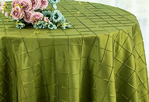 Wedding Linens Inc. 120 Inch Round Pintuck Seamless Taffeta Tablecloths Table Cover Linens for Wedding Party Banquet Events - Moss Green