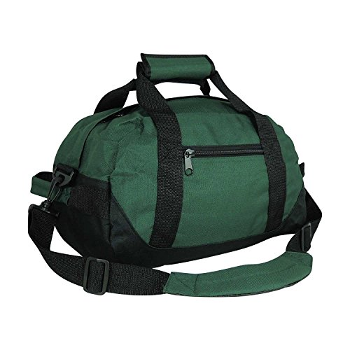 "14"" Small Duffle Bag Two Toned Gym Travel Bag in Dark Green"