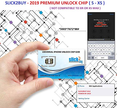 【SLICK2BUY】PREMIUM UNLOCK CHIP, Compatible with iPhone 5- XS, UNLOCK SPRINT,VERIZON,ATT, TMOBILE,METRO,XFINITY TO ANY GSM SIM (DO NOT SUPPORT VERIZON,SPRINT,XFINITY,BOOST,TOTAL - CDMA SIM CARDS) ()