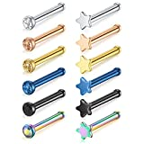 MODRSA 12pcs 20G Mix Color Stainless Steel Clear Diamond CZ Star Nose Screw Studs Rings Bone Nose Piercing Jewelry 2mm