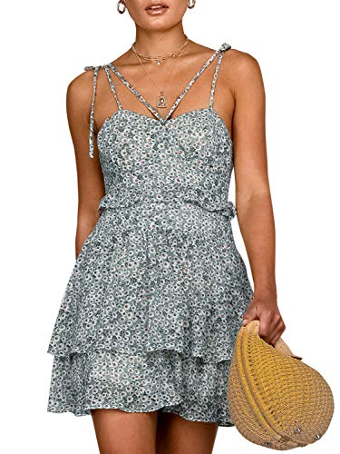 (Boho Floral Fit and Flare Ruffle Dress Backless Aline Dress Green-S )
