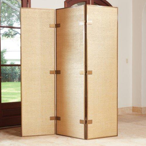 Luxe Textured Gold Bronze Contemporary Floor Screen Room Divider Modern 3 (Gold 3 Panel Floor Screen)