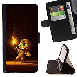 BullDog Case - FOR/Apple Iphone 6 / - / cute fire cartoon mummy pharaoh tomb /- Monedero de cuero de la PU Llevar cubierta de la caja con el ID Credit Card Slots Flip funda de cuer