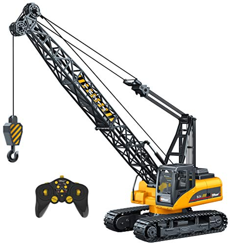 (Top Race 15 Channel Remote Control Crane, Proffesional Series, 1:14 Scale - Battery Powered RC Construction Toy Crane with Heavy Metal Hook (TR-214))