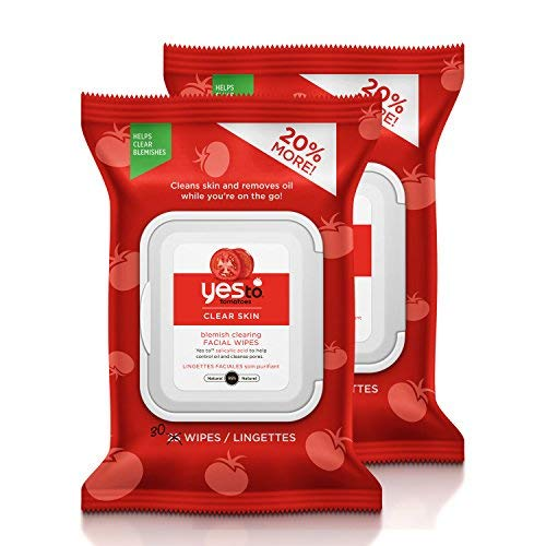 Yes To Tomatoes Clear Skin Blemish Clearing Facial Wipes for Oily or Acne Prone Skin, 30 Count, Pack of 2 (Best Facial For Blemishes)