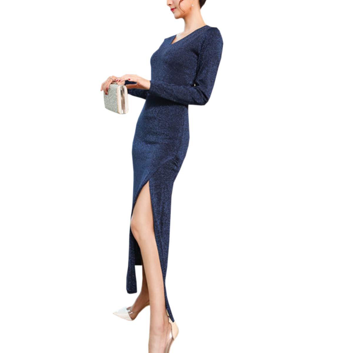 bluee CNBJMAZA V Neck Solid Knitwear Split Bodycon Floor Length Long Sleeve Women's Party Dress