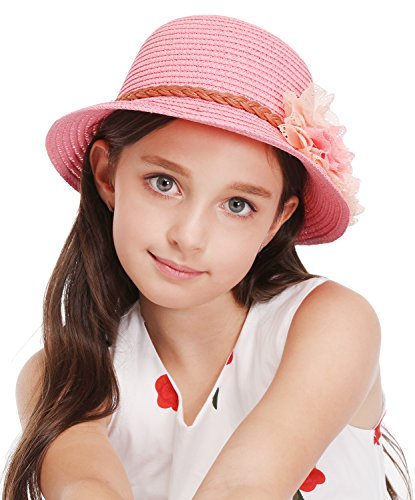Summer Baby Girl Half a Flanging Straw Hat Beach Sun Cap with Two Flowers,Pink