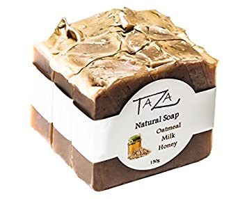Premium Taza Oatmeal Milk Honey Natural Soap Pack of 3 ea. 5.3 oz Radiant Skin Contains Coconut, Olive, and Palm Fruit Oils, Mango Seed Butter, Kaolin Clay, Oats, Honey, Goats Milk