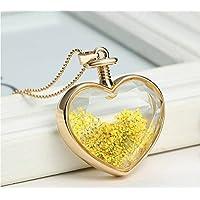 Un ncie Heart Shape pendant Flower Specimens Necklace
