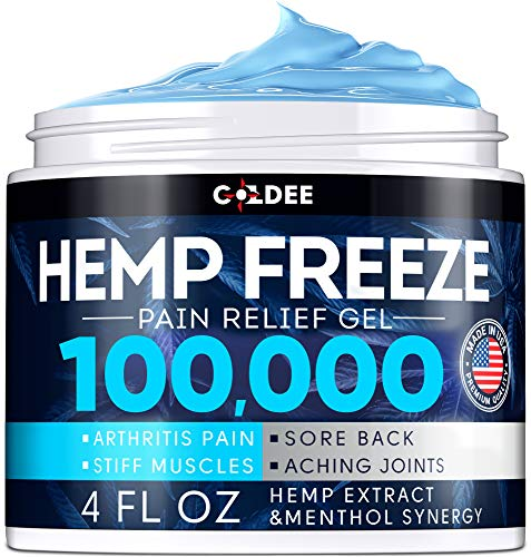 Coldee Pain Relief Hemp Oil Gel - 100,000 MG, 4 OZ - Max Strength & Efficiency - Natural Hemp Extract for Arthritis, Knee, Joint & Back Pain - Made in USA - Hemp Cream for Inflammation & Sore Muscles