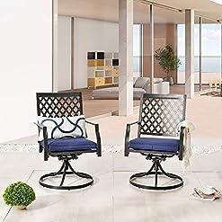 Garden and Outdoor LOKATSE HOME Outdoor Patio Dinning Swivel Chairs Rocker Set of 2 Metal for Garden Backyard Furniture, 2, Blue