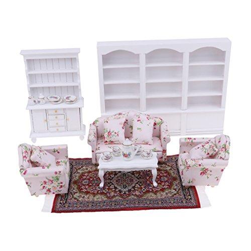 Perfk おもちゃ リビングルーム装飾 カーペット キャビネット ソファ ティーセット テーブル模型 1/12ドールハウス ミニチュア家具 飾り