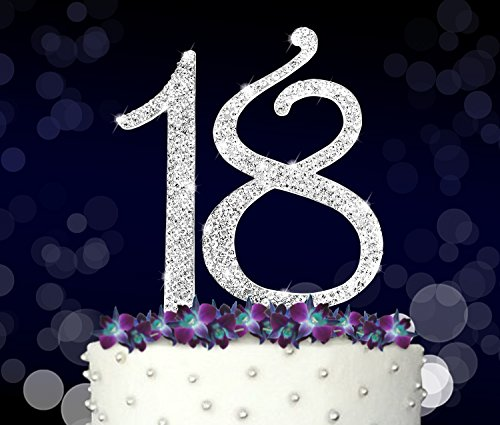 Large-18-18th-Happy-Birthday-Cake-Topper-Anniversary-Crystal-Rhinestones-on-Silver-Metal-Party-Decorations-Favors