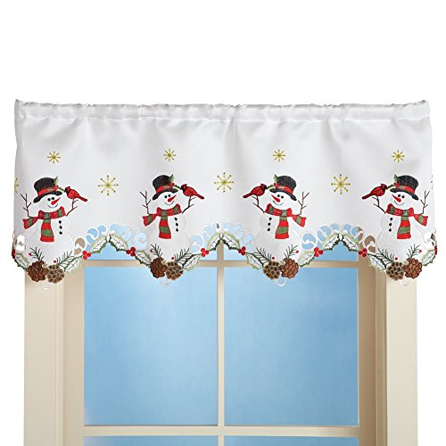 Winter Snowman Amp Cardinal Window Valance Christmasworldstore