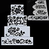 Ferramentas Bolo 4PCS Flowers Fondant Decorating Cake Stencil Kitchen Cupcake Decoration Template Mold Baking Tools For Cakes