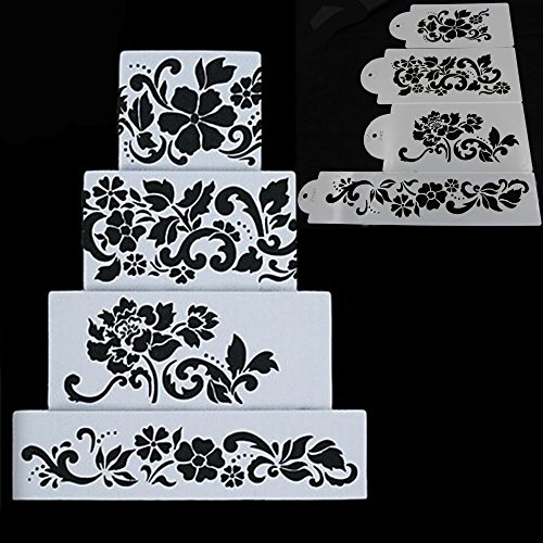 Flower Stencil (Ferramentas Bolo 4PCS Flowers Fondant Decorating Cake Stencil Kitchen Cupcake Decoration Template Mold Baking Tools For Cakes)
