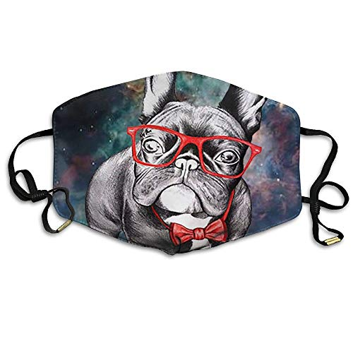 Glasses Bulldog Unisex Face Mouth Mask Earloop Dust Protecting Mask Cycling Reusable Mask