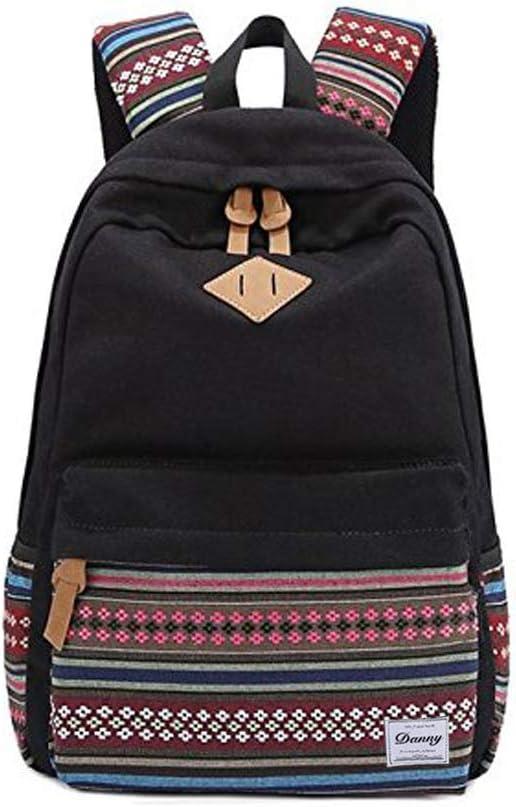 Danny®lona mochila Vintage colorida banda escuela para jóvenes adolescentes y niñas ligero lindo impermeable Casual mochila tiene 14 pulgadas Laptop escuela bolso mochila Negro