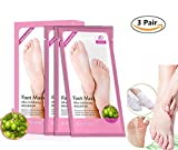 3 Pairs Foot Peeling Mask, Olive Exfoliating Foot Peel Spa Mask for Baby Soft Skin, Foot Care Tool for Dead, Hard, Cracked, Rough and Dry Skin