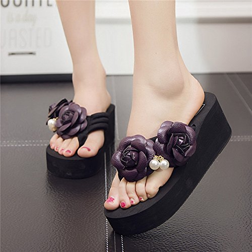 Ladies' Heels Bottom and Sandals Sandals Black High myldy Thick Forty dq4td