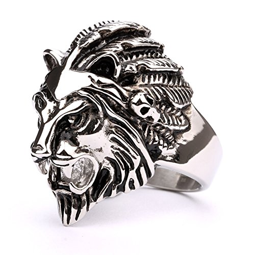 Men's Heavy Metal Gothic Lion Head Stainless Steel Biker Ring - Metal Heads