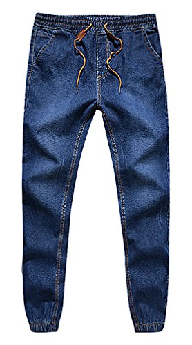 CELINO Men's Stylish Drawstring Fitted Jeans Fashion Elas...