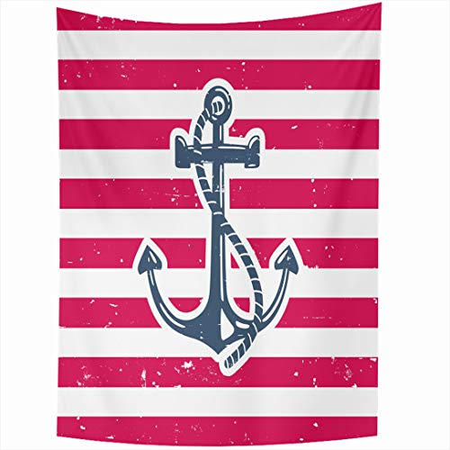 Ahawoso Tapestry 60x80 Inch Sea Red Rope Anchor Nature Blue Marine Label Black Color Catamaran Design Wall Hanging Home Decor for Living Room Bedroom Dorm