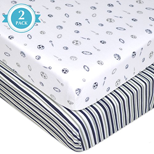 American-Baby-Company-2-Piece-Printed-100-Cotton-Jersey-Knit-Fitted-PortableMini-Crib-Sheet-NavyGrey-StripesSports