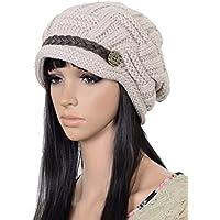 UZZO™ Fashion woman lady girl warm flexible handmade Knitted Crochet Baggy Beret Cap Hat embellishment by one PU Braids for woman outdoor sports +Free UZZO logo Key Ring