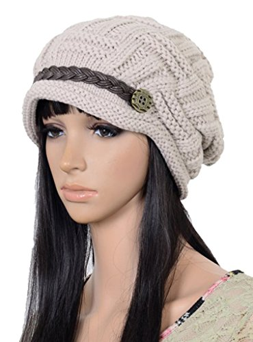 UZZO™ Fashion woman lady girl warm flexible handmade Knitted Crochet Baggy Beret Cap Hat embellishment by one PU Braids for woman outdoor sports(MW)+F…