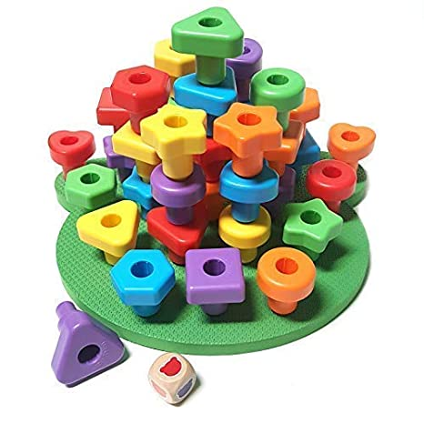 0f0bae82b0e0 Jumbo Shapes Peg Board Toddler Games Set - Educational Baby Toys For 1 Year  Old 2 3 4 Girls and Boys Stacking Sensory Toys