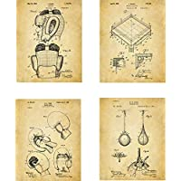 Boxing Patent Wall Art Prints - set of Four (8x10) Unframed - wall art decor for boxers