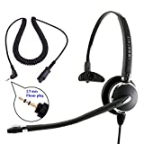 Luxury Monaural Phone Headset + 2.5 mm Phone headset Adapter Cord for Customer Service