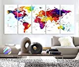 Original by BoxColors Xlarge 30''x 70'' 5 Panels 30x14 Ea Art Canvas Print World Map Original Watercolor Push Pin Travel cities Wall Home Office decor (framed 1.5'' depth)