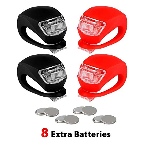 REFUN Bicycle Light - Front and Back Silicone LED Bike Light Set - 2 High Intensity Multi-Purpose Water Resistant Headlight - 2 Taillight for Cycling Safety (2pcs Red & 2pcs Black) ()