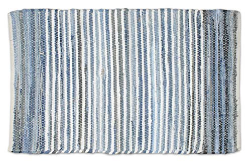DII Contemporary Reversible Indoor Area Rag Rug, Machine Washable, Handmade from Recycled Fabrics, Unique For Bedroom, Living Room, Kitchen, Nursery and more, 2 x 3' - Denim (Color may vary)