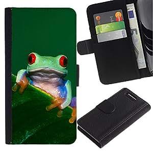 Sony Xperia Z1 Compact / Z1 Mini (Not Z1) D5503 - Dibujo PU billetera de cuero Funda Case Caso de la piel de la bolsa protectora Para (Cool Happy Tree Frog)