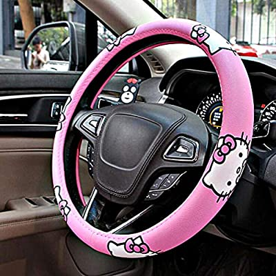 Carmen Hello Kitty Car Accessories 15 Inch Universal Steering Wheel Cover Microfiber Leather Durable Breathable Soft Snug Grip Protector: Automotive