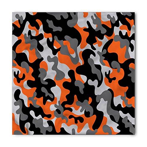 Ambesonne Unisex Bandana, Camo Artistic Modern Design, Orange Black