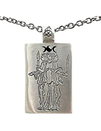 Hecate Hekate Hecat Wiccan Triple Goddess Pagan Pewter Pendant Stainless Steel Chain Necklace