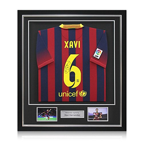 Deluxe enmarcada Xavi Hernández Firmado 2.013-14 Camiseta FC ...