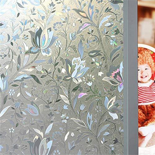 Window Film, Bloss Superior No-Glue 3D Static Illuminative Window Films, Tulips Pattern, 1.5Ft x 6.5Ft