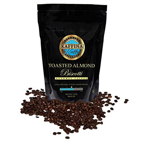 Flavored Decaf Almond Toasted Coffee - Kaffina Kaffe Gourmet Ground Medium Rosted Toasted Almond Biscotti , 12 oz