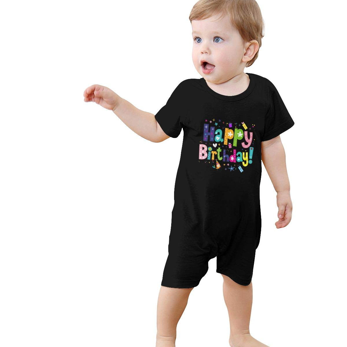Baby Boys Girls Romper Jumpsuit Cute Happy Birthday Newborn Short Sleeve Bodysuits Infant Outfit Funny Onesie for 0-2T