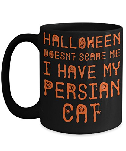 Halloween Persian Cat Mug - White 11oz Ceramic Tea Coffee Cup - Perfect For Travel And Gifts -
