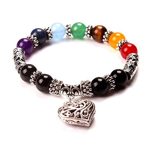 Yeegor 7 Chakra Reiki Healing Balance Natural Gemstone Round Beads Yoga Heart Charm Bracelets