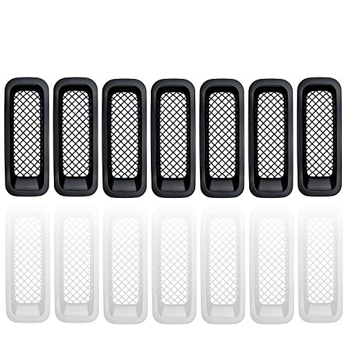 Tire Trim Chrome Accessory Spare (【Upgrade Version】Opall Latest Black Front Grill Mesh Grille Insert Kit For Jeep Patriot 2011 2012 2013 2014 2015 7PCS)