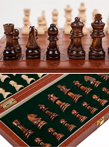 Agirlgle Travel Wooden Chess Set For Adults With Folding Leather Chess Board  ...