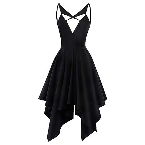 Amazon Irregular Hollow Sling Little Black Dress Dress Summer